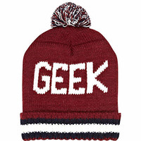 Red geek bobble beanie hat