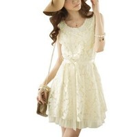 Women Faux Pearl Decor Scoop Neck Sleeveless Mini Dress Beige XS