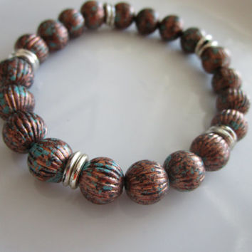 Men's brown and silver toned beaded bracelet - men's gift idea - bracelet men - beaded men's bracelet - gift for men - brown bead bracelet