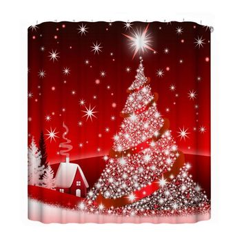 Custom Red Christmas Tree 3D Digital Printing Waterproof Fabric Bathroom Shower Curtain for Bathroom Home Decor with 12 Hook