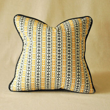 "Vintage Pillow Cover Mustard Yellow and Black Stripes with Buttons 16""x16"""