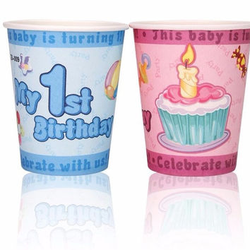 20PCS LOT My 1st birthday party theme paper cup for baby boy or baby girl 1 year old birthday party favor disposable decoration