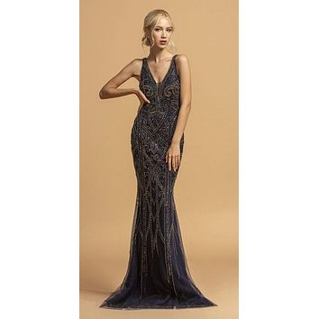 Bead Embellished Mermaid Long Prom Dress Navy Blue