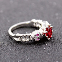 Enchanting Skull Ring With Red CZ Gem