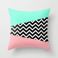Pastel Chevron Tiffany Rose 80's Pattern Throw Pillow by RexLambo