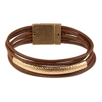 Multi tube bracelet -matte gold