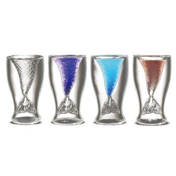 Mermaid Cup Fashonable Stylish Creative Cup Glass Water Two-layer Glass Cup