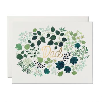 RED CAP CARDS GREEN FLORAL BURST CARD