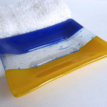 Large Fused Glass Soap Dish in Cobalt Blue and Yellow