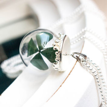 WISH Necklace Real Four Leaf Clover, Good Luck Jewelry, Woman Lucky Charm, Blown Pendant, Birthday Gift, Mother's Day
