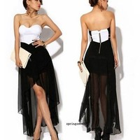 Women Asymmetric Cocktail Party Evening Dress Sexy Strapless Dress Summer Skirt