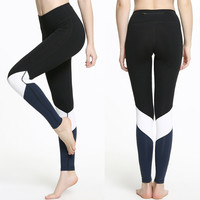 Color Block Sports Leggings With Pockets