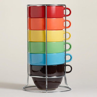 Multi-Color Jumbo Stacking Mugs Set of 6 | World Market