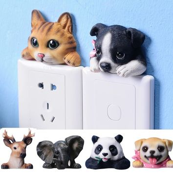 Funny Cute Cartoon Resin Switch Stickers Wall-hangings Decorative Wall Stickers 3D Animal Shape Socket Protective Cover for Home