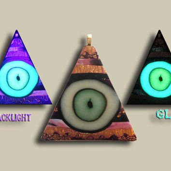 Glow in the Dark Pendant Illuminati Eye Pyramid OOAK Handmade Blacklight Art No357