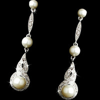 Bridal wedding Earrings in Antique Silver with White Pearl & CZ- wedding Jewelry