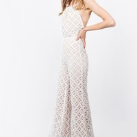 White Crochet Wide Leg Jumpsuit