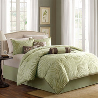 Madison Park MP10-233 Freeport Green Seven-Piece Queen Comforter Set
