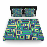 "Trebam ""Jesen"" Green Yellow Woven Duvet Cover"