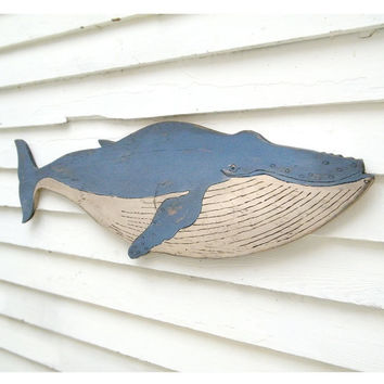 Humpback Whale Sign Nautical Wall Decor Beach Coastal Art