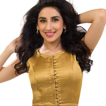 Trendy Satin Crop Top Gold Sari Blouse SNT-CT-2-NS