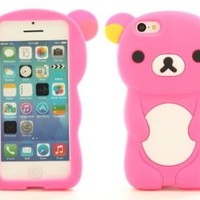 Hot Pink Soft Silicone Gel Teddy Bear iPhone 5C Cover Case I5CD05M