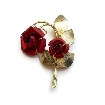 Red Roses Brooch | Rose Brooch | Red And Gold Vintage Brooch | Vintage Pin | Keepsake Flower Brooch