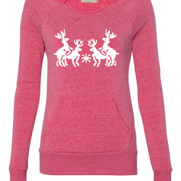 xmas deer ladies sweatshirt
