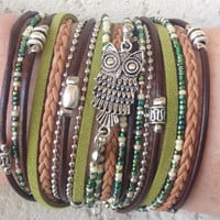 Boho Leather Wrap Bracelet- Multilayer Silver Owl Charms Infinity Tibetan Beaded Bracelet- Green Brown Silver Pearl- Gift for Women