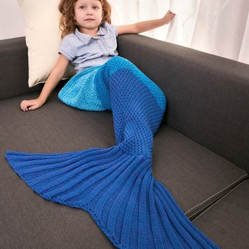 Keep Warm Color Block Crochet Knit Mermaid Blanket Throw For Kids