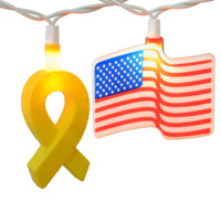 Yellow Ribbon & American Flags String Lights