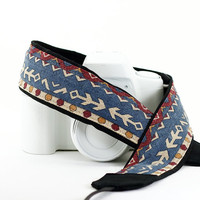 Southwestern Arrows dSLR Camera Strap, Tribal, SLR, Canon Strap, Nikon Strap, Neck Strap,  Denim, Blue, Native American Inspired, 211 w