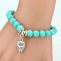 [ExcluSiva] Vintage Charms Turquoise Beads Owl Elephant Bird Pendant Bracelet Fashion Hand Cross Bracelets Women Fine Jewelry Pulseras  F007
