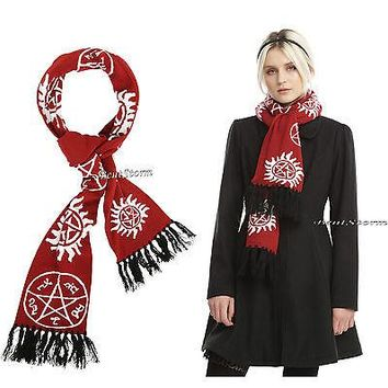 Licensed cool Supernatural Maroon White Anti-Posession Rune Symbols NECK SCARF Black Tassles