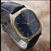 #Mens #Vintage 1980's #Gold Plated #Omega #Seamaster Quartz with Day Date #Watch