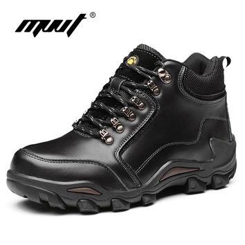 MVVT Genuine Leather Boots Men Winter Boots Waterproof Work Safety Snow Books For Men Outdoor Cross Country Military Boots