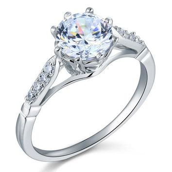 2 Carat Round Cut Ring Simulated Diamond 925 Sterling Silver Wedding Anniversary Engagement
