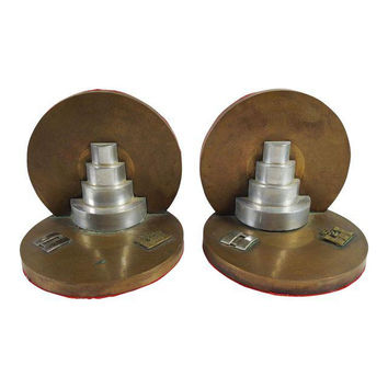 Pair Vintage Army Corp Engineers Brass Bookends