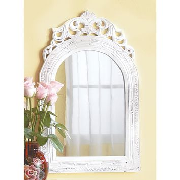 Mirror-Arched Distressed White Wood Frame