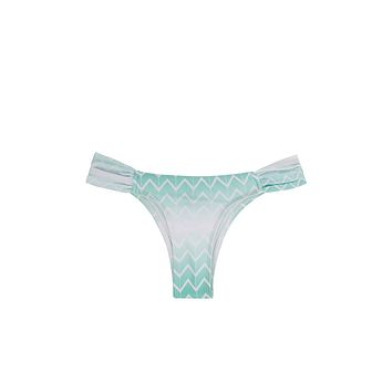 Jetty Ruched Sides Bikini Bottom - Currents Blue Zig Zag Print