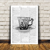 Vintage teacup poster Retro print Modern decor Antique art RTA285