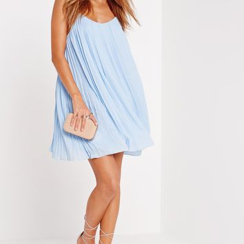 Missguided - Strappy Pleated Sundress Blue
