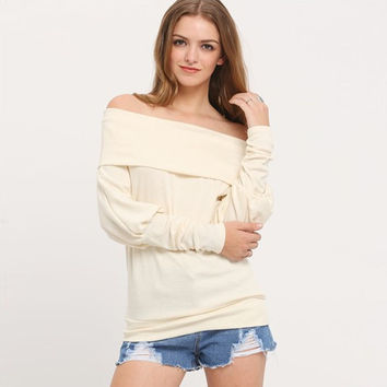 Off the Shoulder Overlay Long Sleeve Blouse