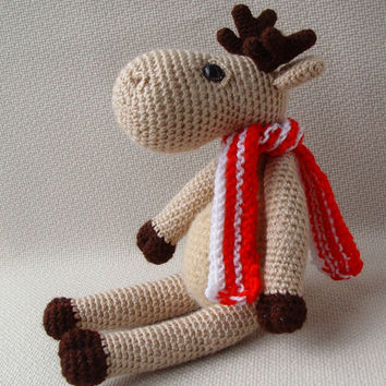 Crochet Elk - Crochet toy - Soft  Elk - Handmade crocheted toy - Crochet Elk - Hand knitted and crocheted toy - For kids - Stuffed Toy