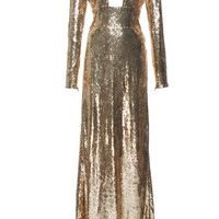 Long Sleeve Sequin Gown | Moda Operandi