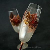 Wedding Glasses, Fall Wedding, Champagne Flutes, Autumn Leaves, Maple Leaves Glasses, Hand Painted, set of 2