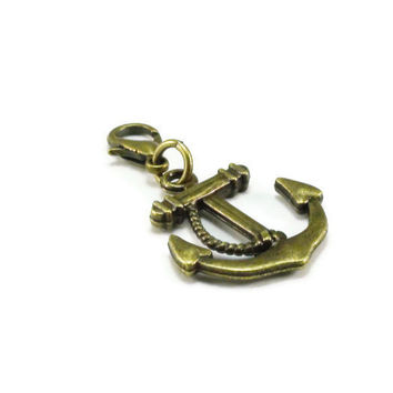 Bronze Anchor Charm, Clip on Charm, Purse Charm