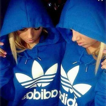 fashion adidas print hooded pullover tops sweater sweatshirts blue