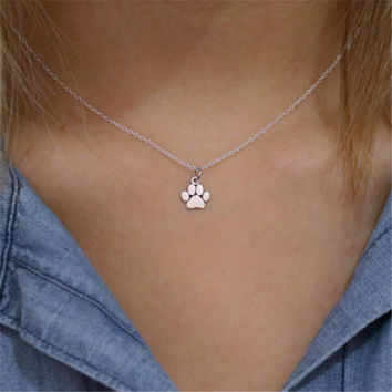 2017 Pet Jewelry Necklace Silver Dog, cat Paw Necklace, Pet Memorial Gold Paw Print necklace