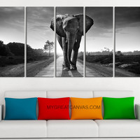 "Large Wall Art Canvas Wild Elephant on the Road Art Prints For Wall, EXTRA LARGE 60""32"" Ready to Hang, Elephant Photo Print On Canvas,"